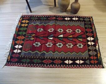 Turkish Kilim rug, area rug, rug, vintage rug, bohemian rug, Turkish rug, bright rug, Turkish carpet, rug, colorful rug, boho rug, red rug