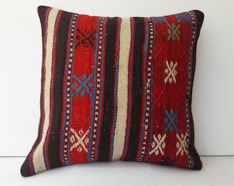 Colorfull Pillow,Najova Pillow,Handwoven Cusion,Striped Pillow,Home Design Pillow,Office Pillow,Saloon Pillow,Geometric Pillow,16x16,AZ67