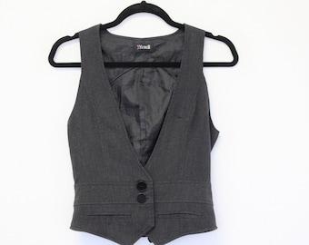 Gray Students Office Wear Vest Fitted Formal Waistcoat Secretary Elegant  Vest XS Size
