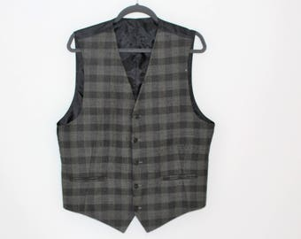 Mens checkered wool waistcoat Designed in Norway Mens Steampunk Vest  Office Waistcoat Country Vest  Size Medium