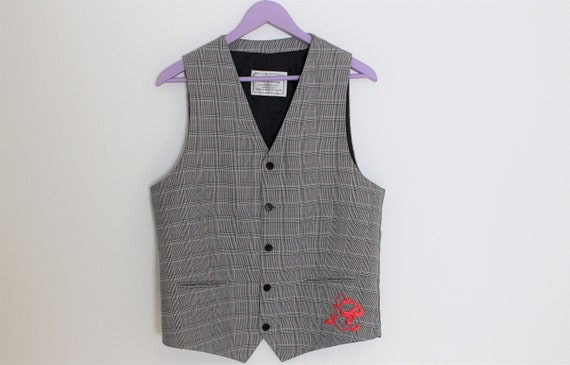 Plaid Gray Vest MOODS OF NORWAY Mens Gray checkere