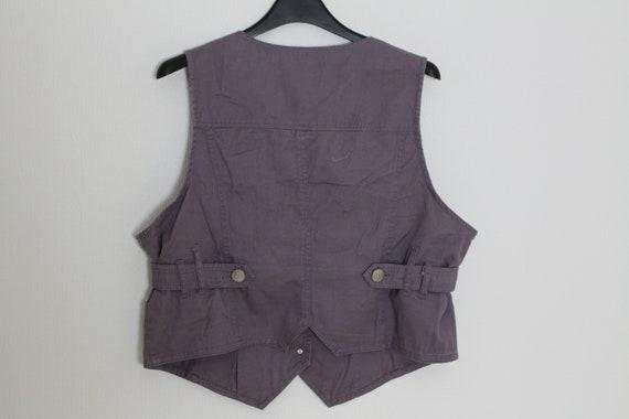 Gray Cotton Vest Purple Womens Waistcoat Gray Cot… - image 4