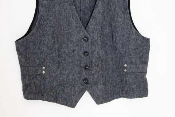 Women's Gray Vest Cotton Linen Waistcoat Fitted D… - image 2