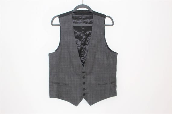 Classic Gray Vest Mens Formal Style  Checkered  Gr