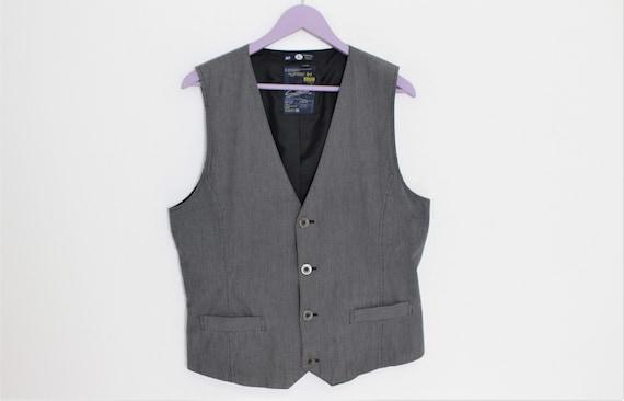 1 Gray Vest Mens Gray waistcoat  Gray Cotton Mens