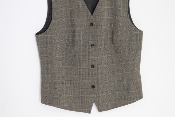 Brown Tweed Vest Womans  Gray Brown wool Blend Wa… - image 3