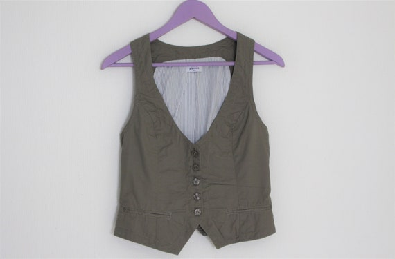 Gray cotton Vest Womens Gray Fitted Waistcoat Crop