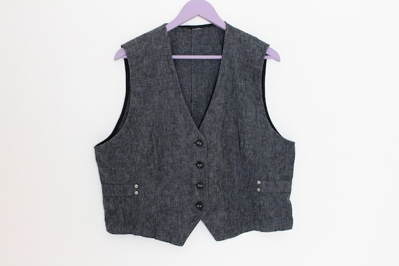 Women's Gray Vest Cotton Linen Waistcoat Fitted D… - image 1