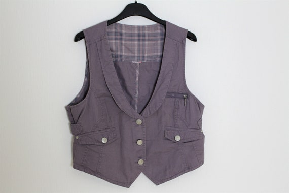 Gray Cotton Vest Purple Womens Waistcoat Gray Cot… - image 1