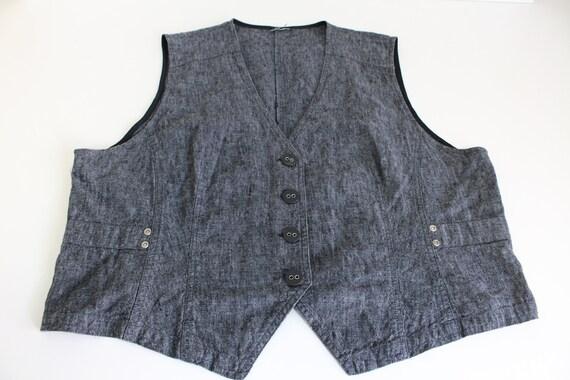 Women's Gray Vest Cotton Linen Waistcoat Fitted D… - image 4