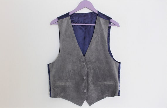 Gray Suede Waistcoat Womens Light gray Leather Ves