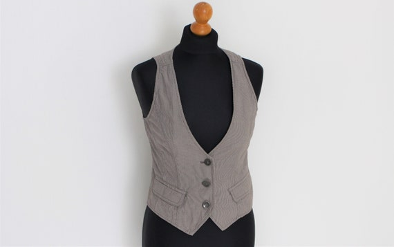 Striped Vest Gray Ladies fitted vest Striped Grey