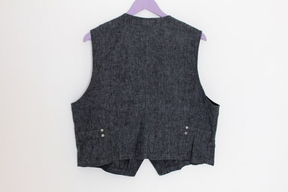 Women's Gray Vest Cotton Linen Waistcoat Fitted D… - image 3
