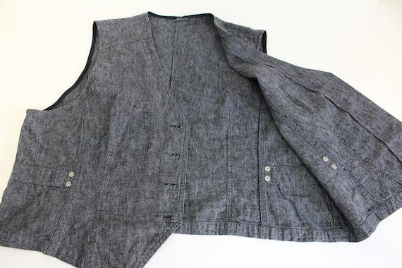 Women's Gray Vest Cotton Linen Waistcoat Fitted D… - image 5