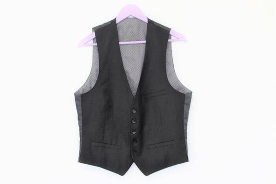 Gentlemen's Mens Formal Vest  Black Slim  Fitted V