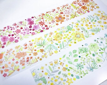 Samples - washi tape samples special ink limited edition extra wide 60mm flower warm edition 80cm loop <SI601>