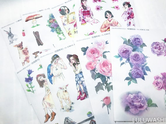 washi planner journal sticker kiss cut 4 sheets TN hobonichi filofax month calendar stickers