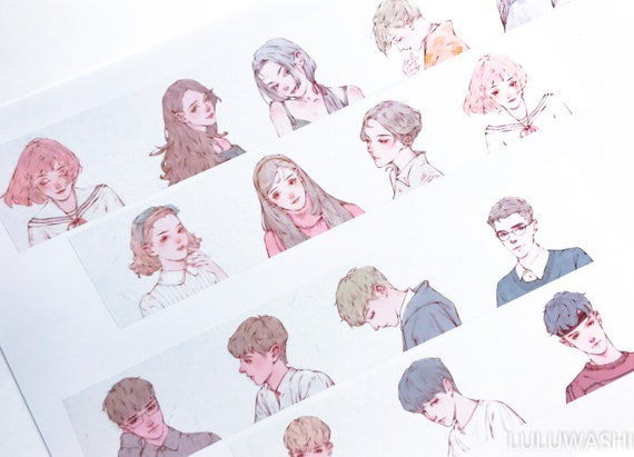Samples - washi tape samples special ink limited edition hand drawing portraits sweet girls / boys 60cm  <SI801>