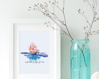 Yo Ho Yo Ho, a Pirate's Life for Me Watercolor Printable | Gasparilla Printable Art