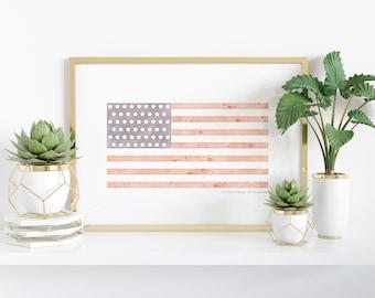Watercolor American Flag Printable - USA - 4th of July - Patriotic