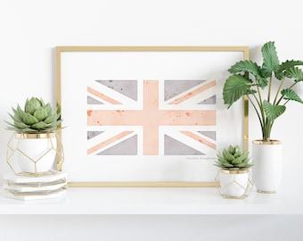 Watercolor United Kingdom Flag Printable - England, Great Britain, Northern Ireland, Scotland, Wales - Heritage - Ancestry