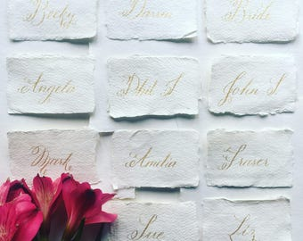 Classic calligraphy name cards / place cards on handmade paper / black, gold, rose gold, silver