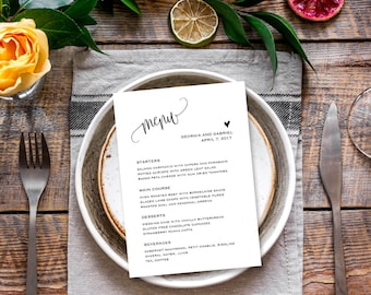 Wedding menu template, Wedding menu card template, Printable menu for wedding,  Rustic wedding menu cards 5x7, Dinner menu, Editable PDF