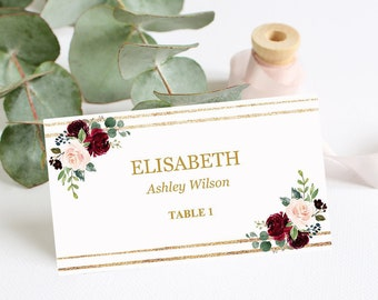 burgundy place cards marsala wedding place cards template printable editable wedding escort cards flat tent burgundy name cards download - Wedding Escort Cards
