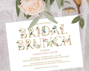 bridal brunch invitation editable printable blush gold bridal shower brunch invitation instant download calligraphy floral greenery invite