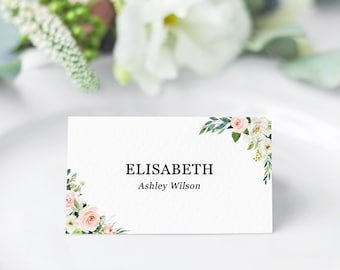 wedding table name cards template greenery gold place cards etsy