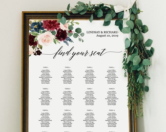 marsala wedding seating chart template winter wedding reception table arrangement seating chart poster editable printable instant download