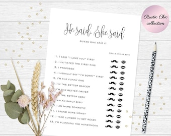 he said she said game printable bridal shower games who said it game he said she said question game wedding shower bride or groom game