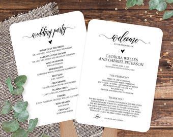 wedding program template editable wedding program fans etsy