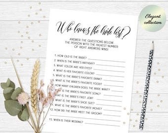 who knows the bride best game how well do you know the bride game printable bridal shower game classy printable bachelorette party game