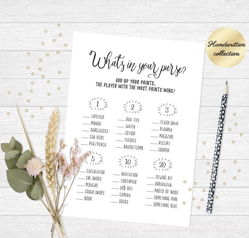 picture relating to Bridal Shower Purse Game Printable referred to as Printable bridal shower activity, Whats inside of your purse activity, Bridal shower purse sport, Pleasurable bachelorette bash activity, Printable marriage shower video game