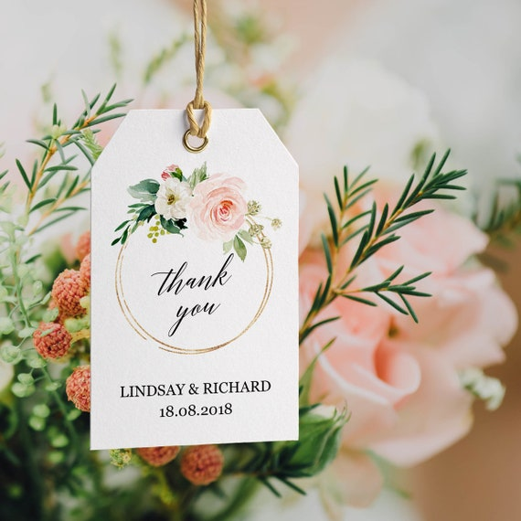 0d9846942a11 Wedding favor tags template, Editable printable gift tag template, DIY  Custom gift tags, Thank you tags wedding, Floral greenery gold modern
