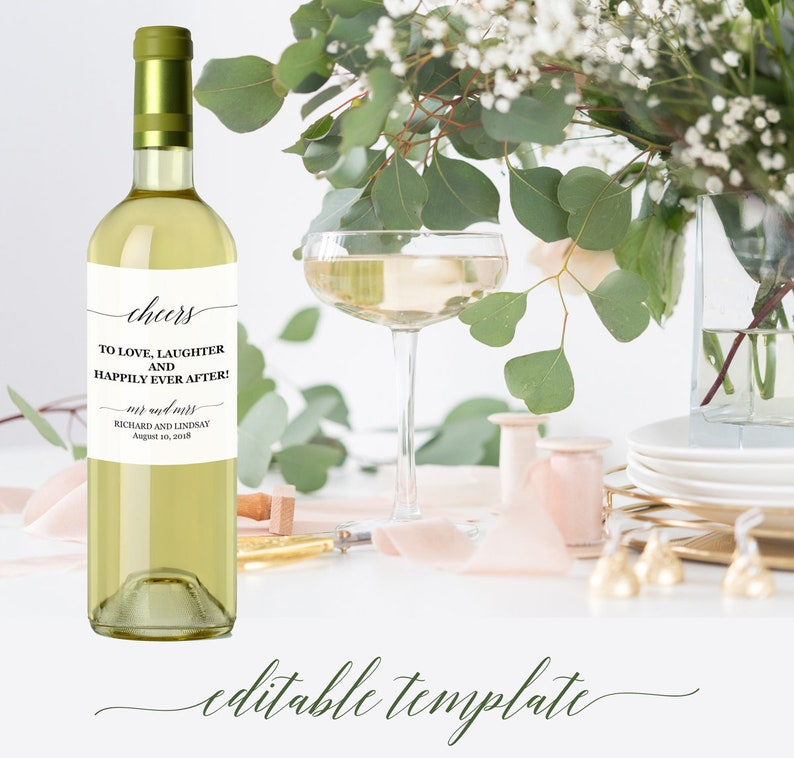 photograph about Printable Wine Bottle Tags identified as Marriage ceremony wine labels template editable, Printable wine bottle tags, Marriage ceremony present wine labels, Impressive calligraphy wine bottle labels marriage