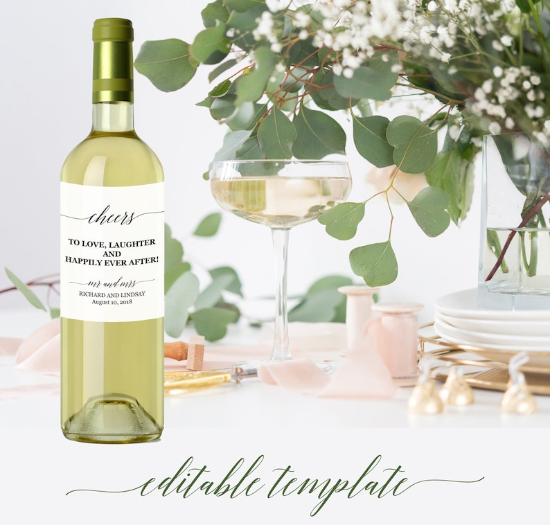 picture about Printable Wine Bottle Tags called Marriage wine labels template editable, Printable wine bottle tags, Wedding ceremony present wine labels, Revolutionary calligraphy wine bottle labels marriage