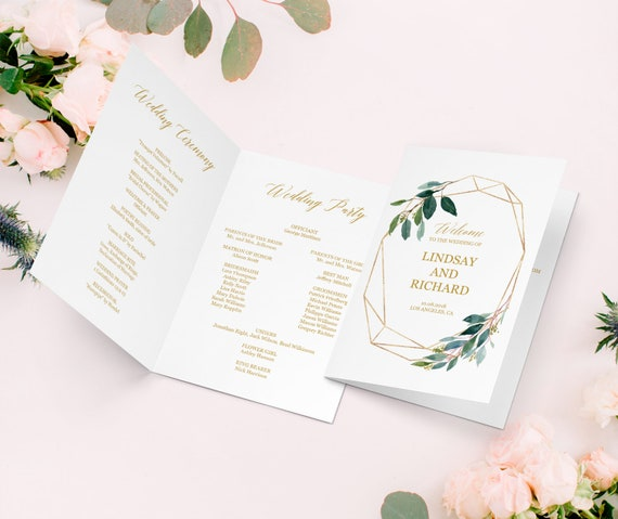 Wedding Reception Program Template Greenery Gold Wedding Etsy