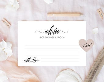 Advice for the bride and groom cards, Printable wedding advice cards, Marriage advice cards for bridal shower party, Newlywed advice cards