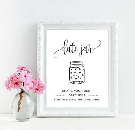 Date Night Jar Sign Printable Date Jar Sign Wedding Date Jar Etsy
