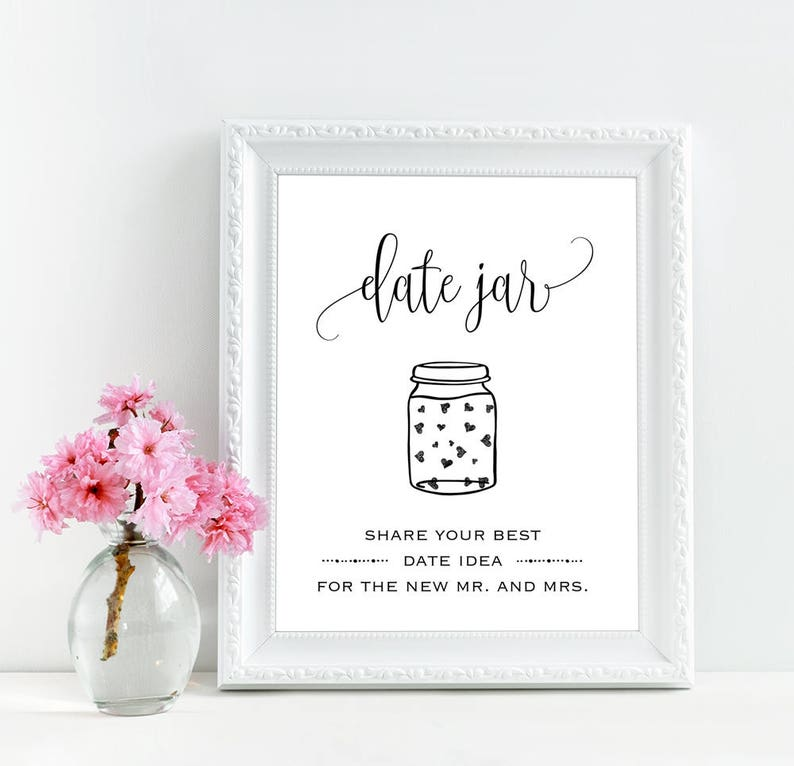 graphic relating to Date Night Jar Printable identify Day night time jar indicator printable, Day jar indication, Wedding day day jar printable signal, Bridal shower day night time jar indicator, Rustic day evening signage