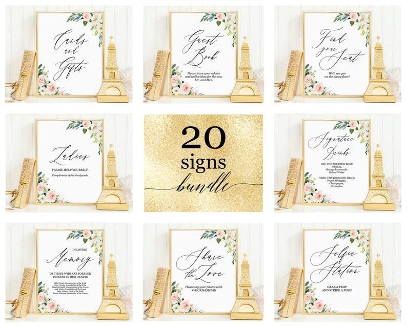 Bridal shower sign set Instant download Printable wedding signs templates bundle deal Blush floral custom calligraphy wedding sign package