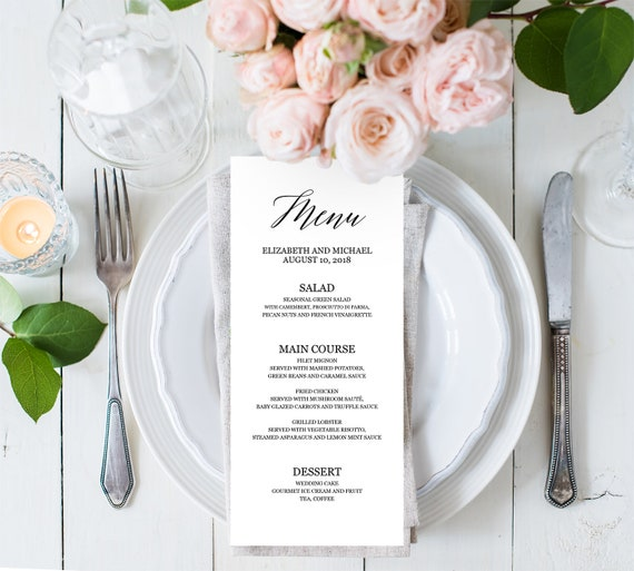 Wedding Food Buffet Menus: Dinner Party Menu Template Editable PDF Wedding Buffet