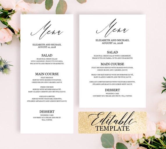 calligraphy wedding menu template elegant dinner party menu etsy