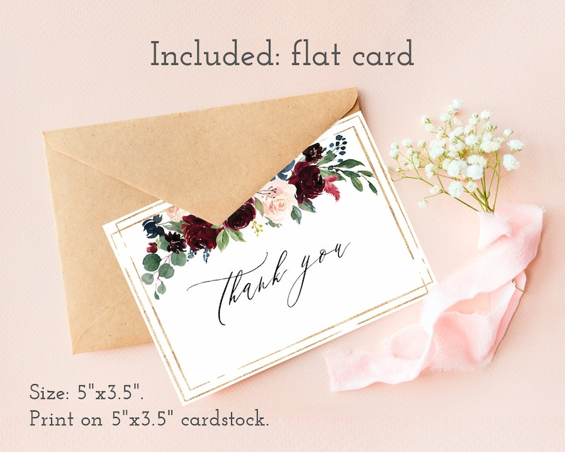 Burgundy thank you card Floral moody boho chic wedding thank you postcard Instant download Printable bridal shower thank you cards notes