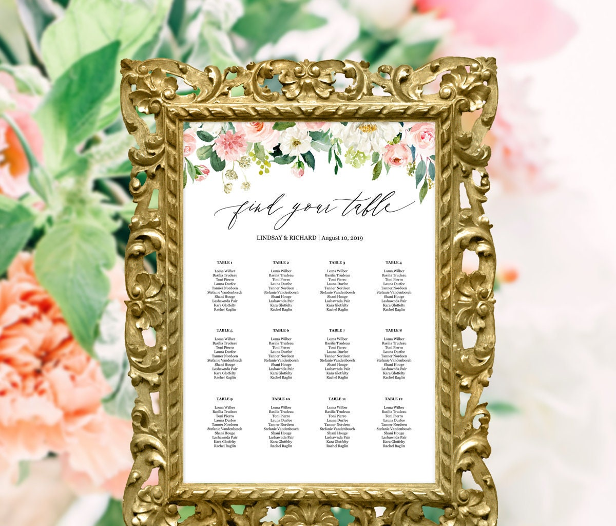 Printable wedding seating chart template alphabetical / by | Etsy