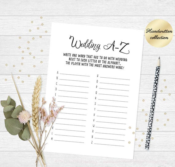 Tea Party Bridal Shower Game Printable Word Game Wedding A Z Etsy