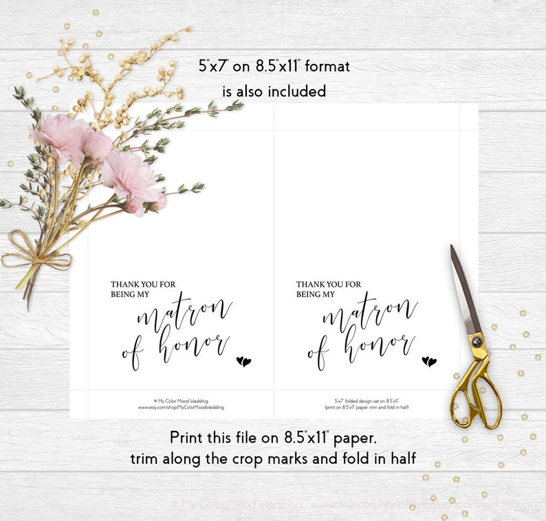 Printable thank you card Thank you for being my matron of honor Instant download Matron of honor card printable Wedding thank you card