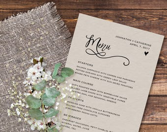 Wedding menu cards template, Wedding reception menu template printable, Wedding dinner menu template, Editable wedding menu printable, 5x7